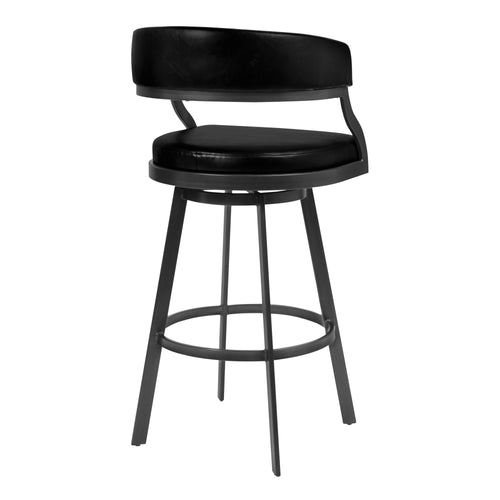 Saturn Counter Stool or Barstool in Mineral Finish and Vintage Black Faux Leather