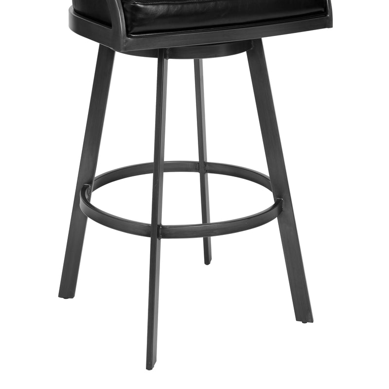 Saturn Counter Height Barstool in Mineral Finish and Vintage Black Faux Leather