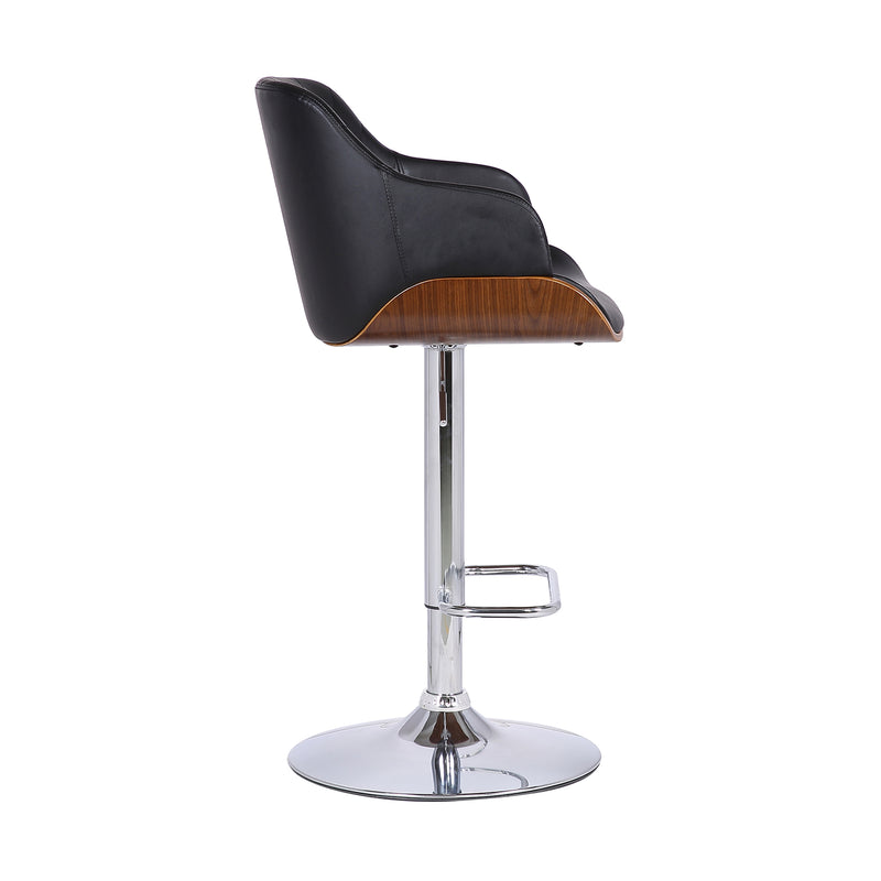 Toby Contemporary Adjustable Barstool in Chrome Finish with Black Faux Leather and Walnut Finish
