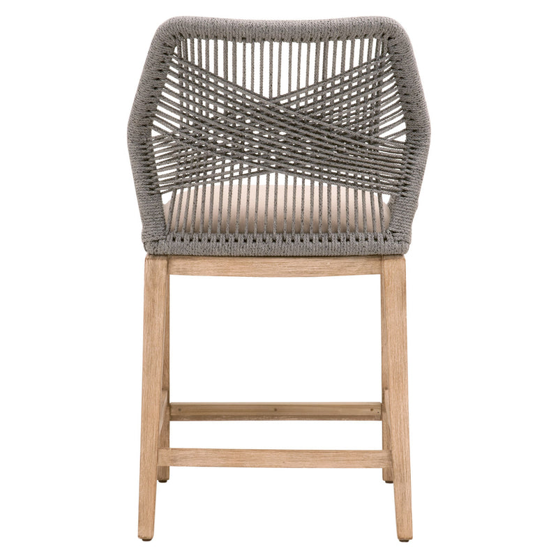LOOM COUNTER STOOL - Platinum Rope, Light Gray, Natural Gray Mahogany