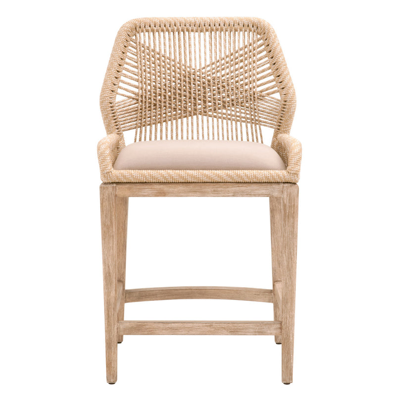 LOOM COUNTER STOOL - Sand Rope, Light Gray, Natural Gray Mahogany