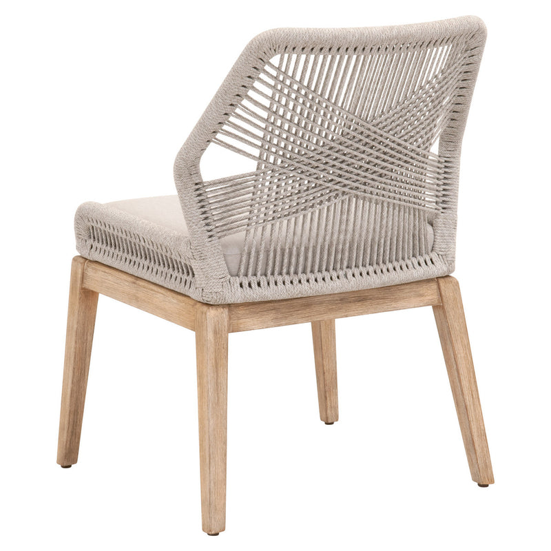 LOOM DINING CHAIR - Taupe & White Flat Rope, Pumice, Natural Gray Mahogany