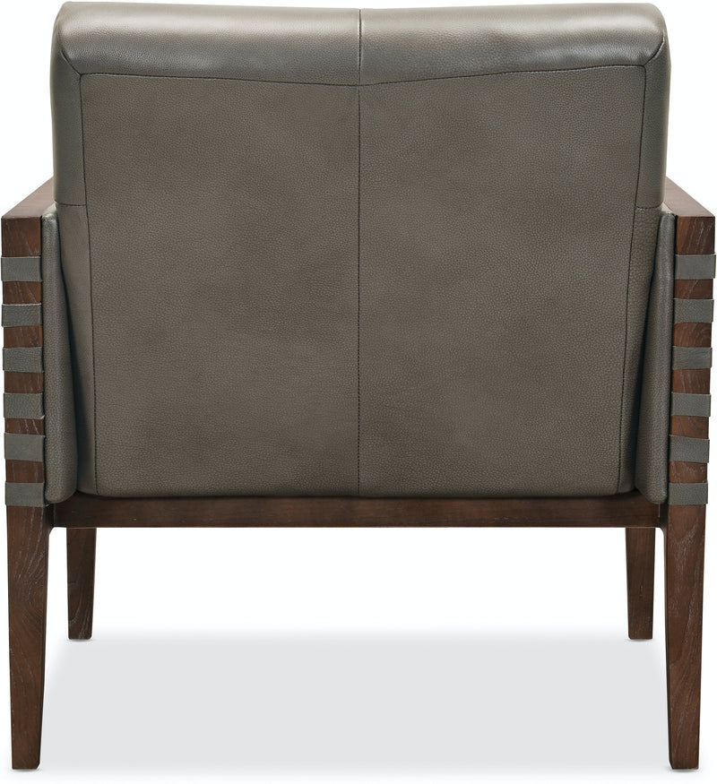 Hooker Furniture Living Room Carverdale Leather Club Chair w/Wood Frame