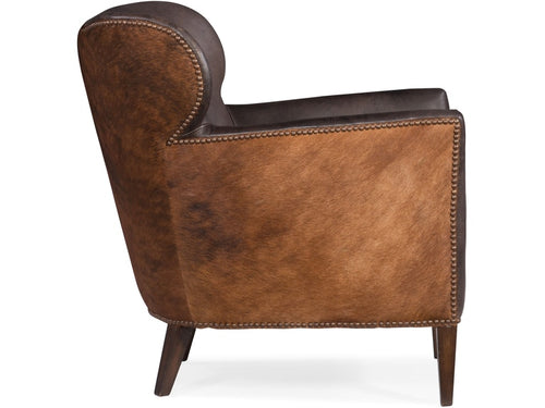 Hooker Furniture Living Room Kato Leather Club Chair w/ Dark HOH