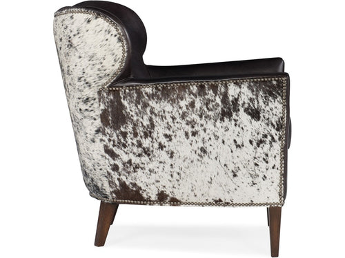 Hooker Furniture Living Room Kato Leather Club Chair w/ Salt Pepper