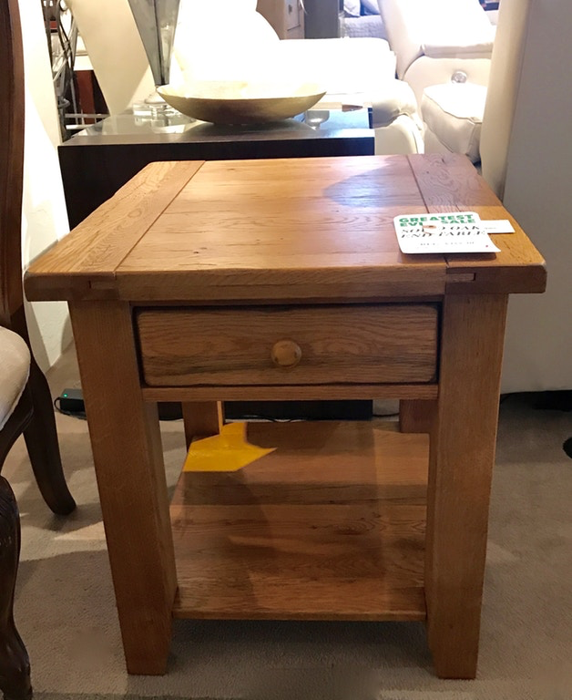 Solid Oak End Table - Curated By Norwood