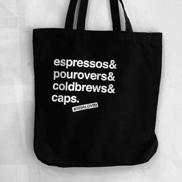 Espressos& Pourovers& Coldbrews& Caps Tote Bag tote bag roundboyroasters