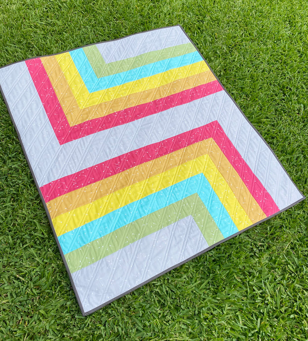 Pindrop Retro Rainbow On the Edge Baby Quilt