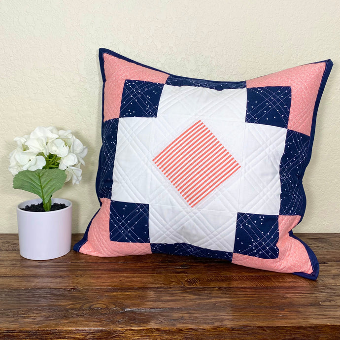 Navy & Coral Antique Tile Remix Pillow + A Diagonal Grid Quilting Tutorial