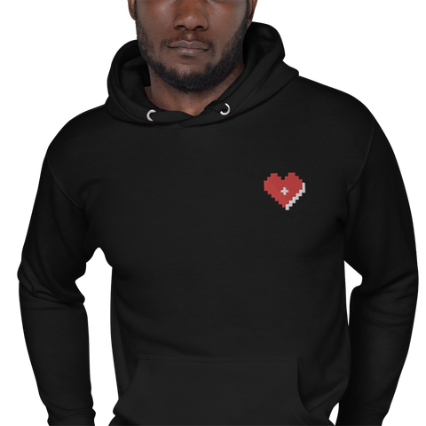 Plus Love Co. Heart Hoodie [Embroidered] - Black
