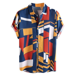 Mens Mosaic Contrast Color Turn Down Collar Short Sleeve Button Down