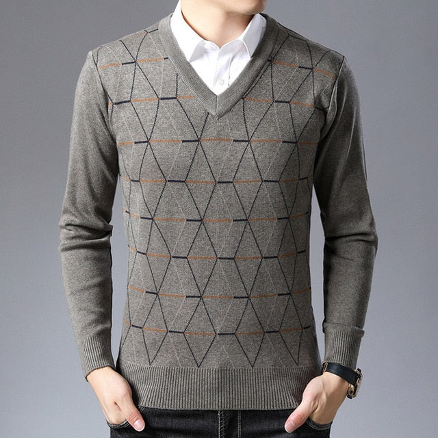 Langbeeyar Wool V- Neck Business Casual Sweater