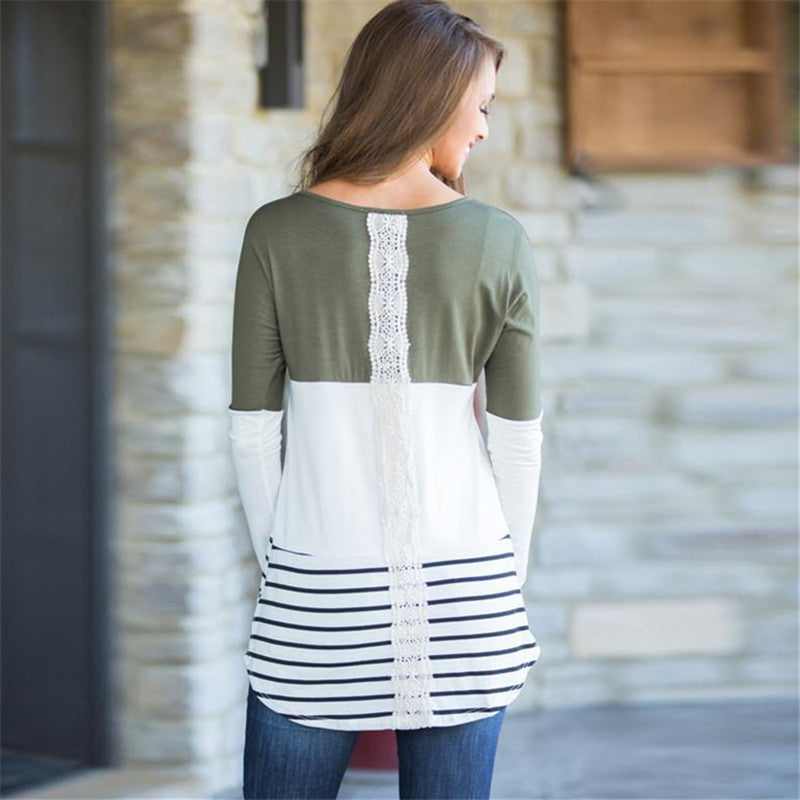 Long Cut Striped Blouse