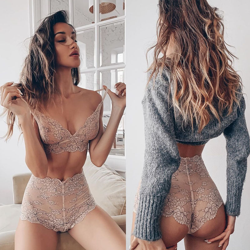 Lingerie Lace Two Piece Lounge & Sleepwear Set
