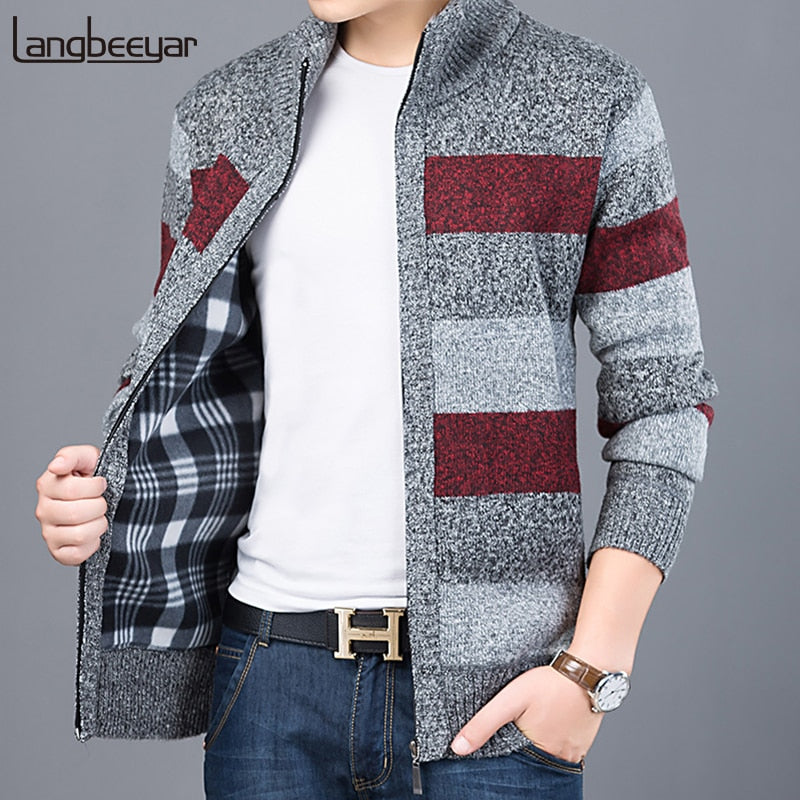 Langbeeyar Plaid Lined Stripped Casual Sweater