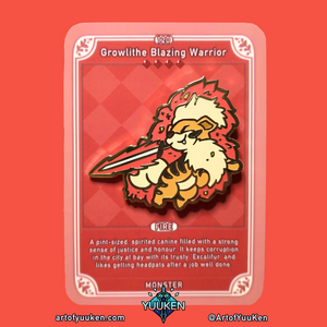 #120 Growlithe Blazing Warrior Enamel Pin