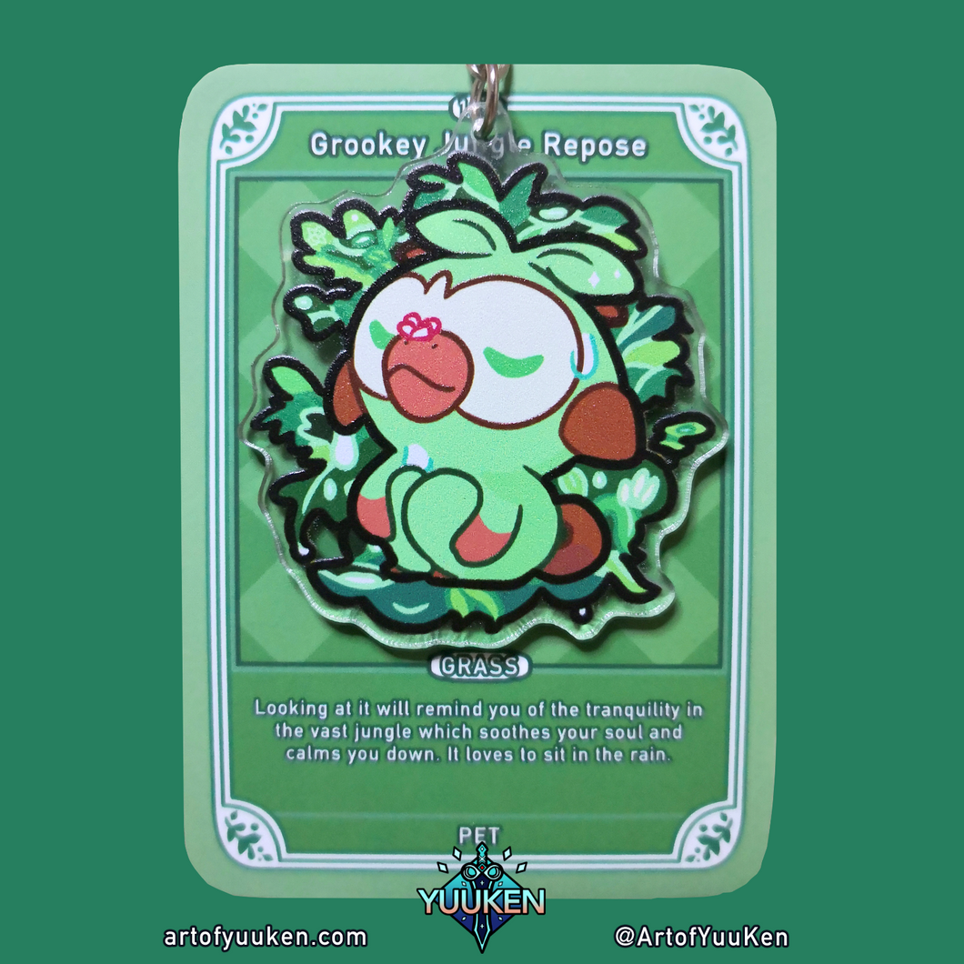 #122 Grookey Jungle Repose Acrylic Charm