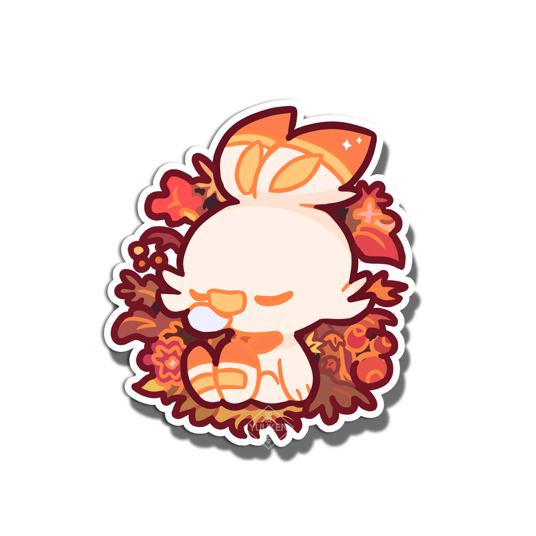 #123 Scorbunny Autumn Dream Vinyl Sticker