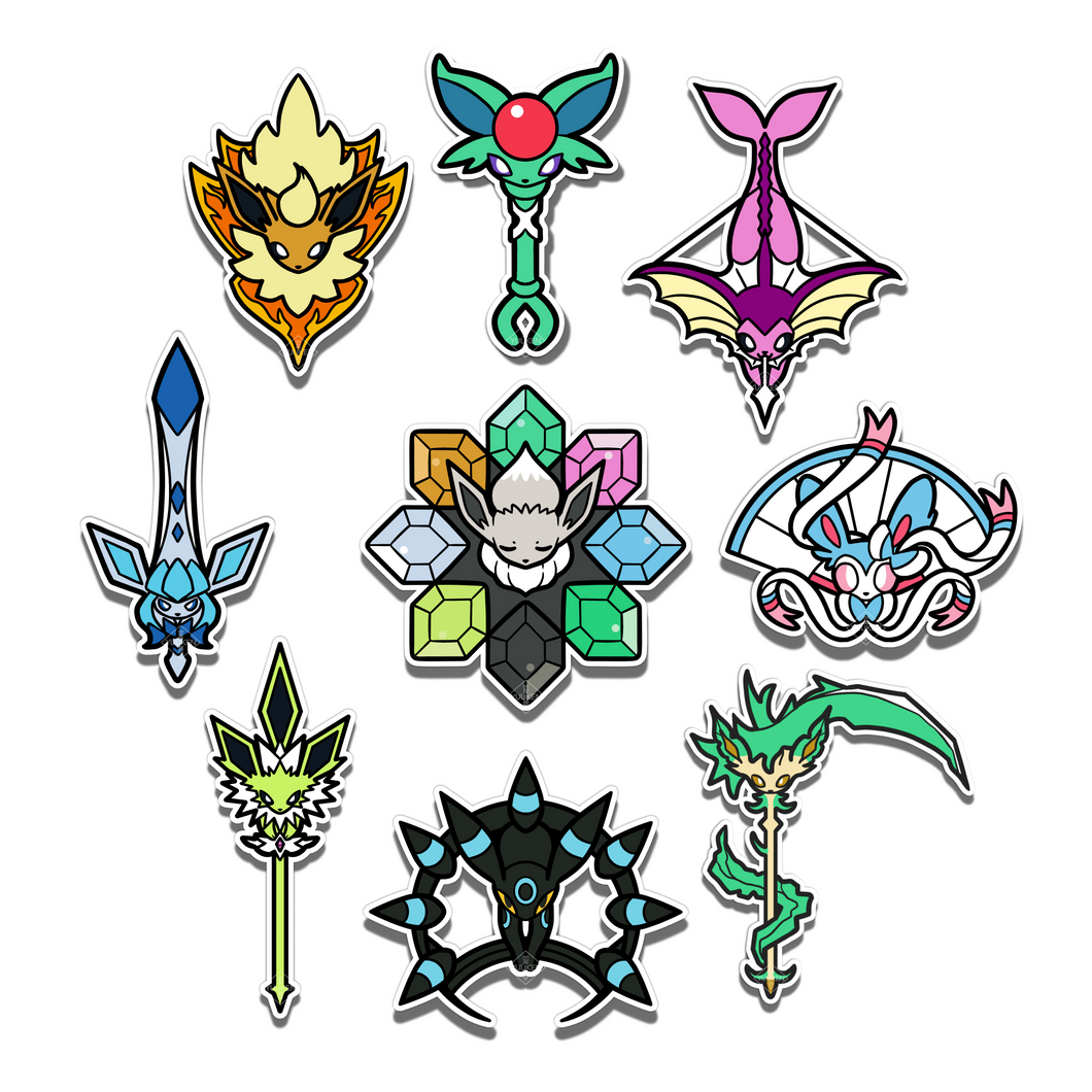 #141-149 Shiny Eeveelutions 9 Pieces Vinyl Stickers Set