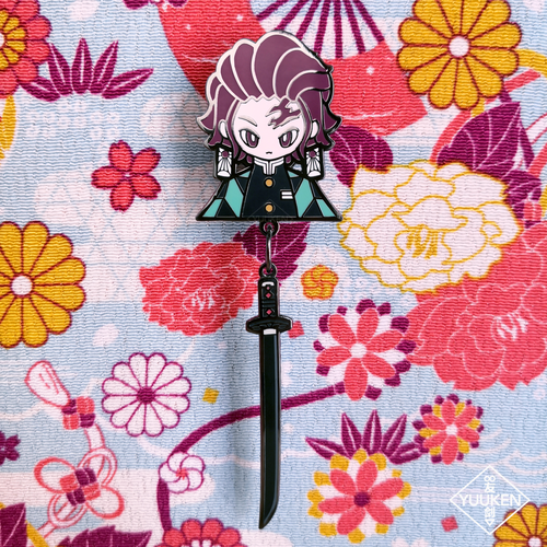 Tanjiro 3-in-1 Enamel Pin with Dangle and Customized Woven Strap