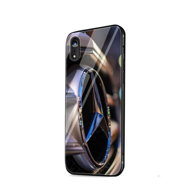 MM Tempered Glass Mercedes Car Logo I iPhone Handyhülle - MeinMobile