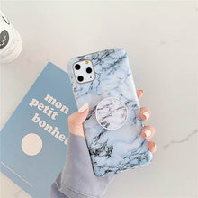 Laden Sie das Bild in den Galerie-Viewer, Luxury Marble Stand Phone Holder Case For iphone 11 Pro X XR XS Max 7 8 6 6S Plus Case Silicone Soft TPU Back Cover Shell - MeinMobile