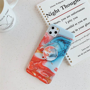 Luxury Marble Stand Phone Holder Case For iphone 11 Pro X XR XS Max 7 8 6 6S Plus Case Silicone Soft TPU Back Cover Shell - MeinMobile