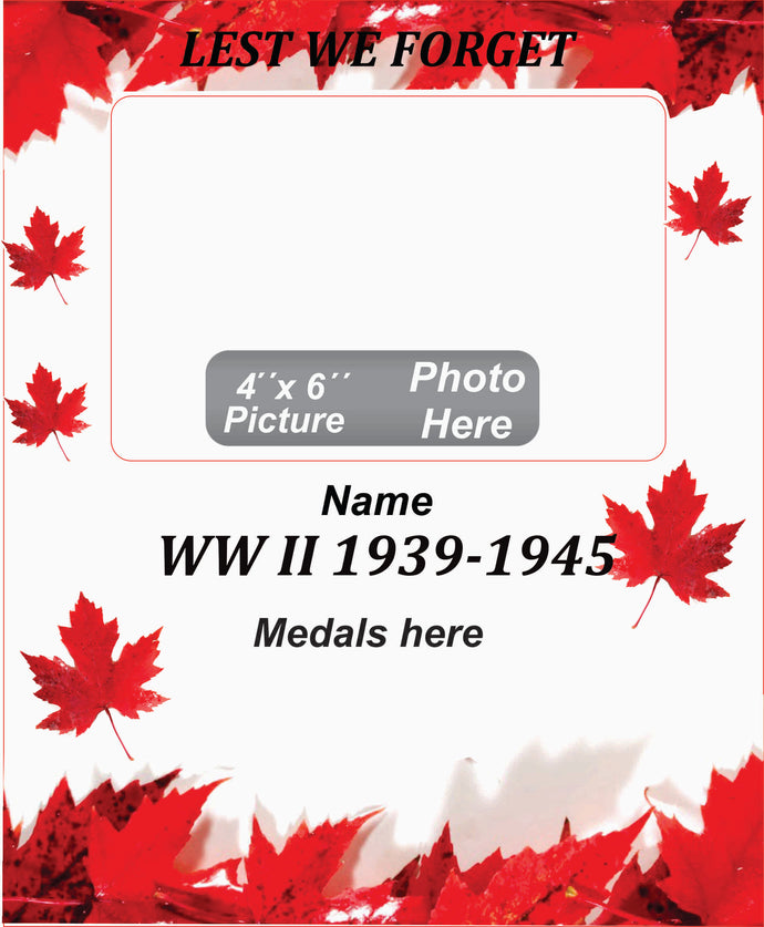 World War II Memorial Wooden Box Picture Frame