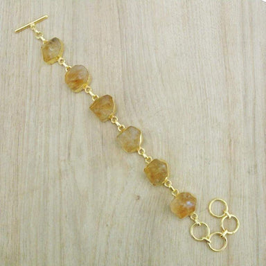 18 Karat Gold Plated Raw Citrine November Birthstone Designer Bracelet