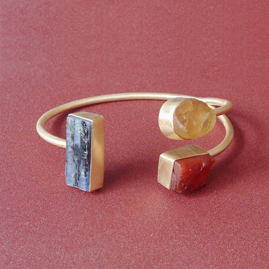 18 Karat Matte Gold Plated Kyanite Carnelian And Citrine Gemstone Open Bracelet - by Bhagat Jewels