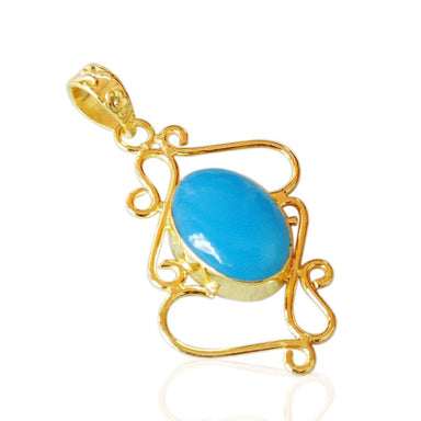 18K Gold Framed Oval Shape Blue Chalcedony Gemstone Fashion Pendant
