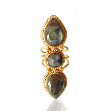 18K Gold Plated Bezel Set Labradorite Gemstone Party Wear Cocktail Ring