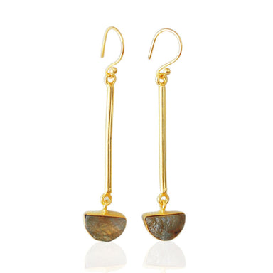 18K Gold Plated Bezel Set Raw Labradorite Gemstone Dangle Earrings - by Bhagat Jewels