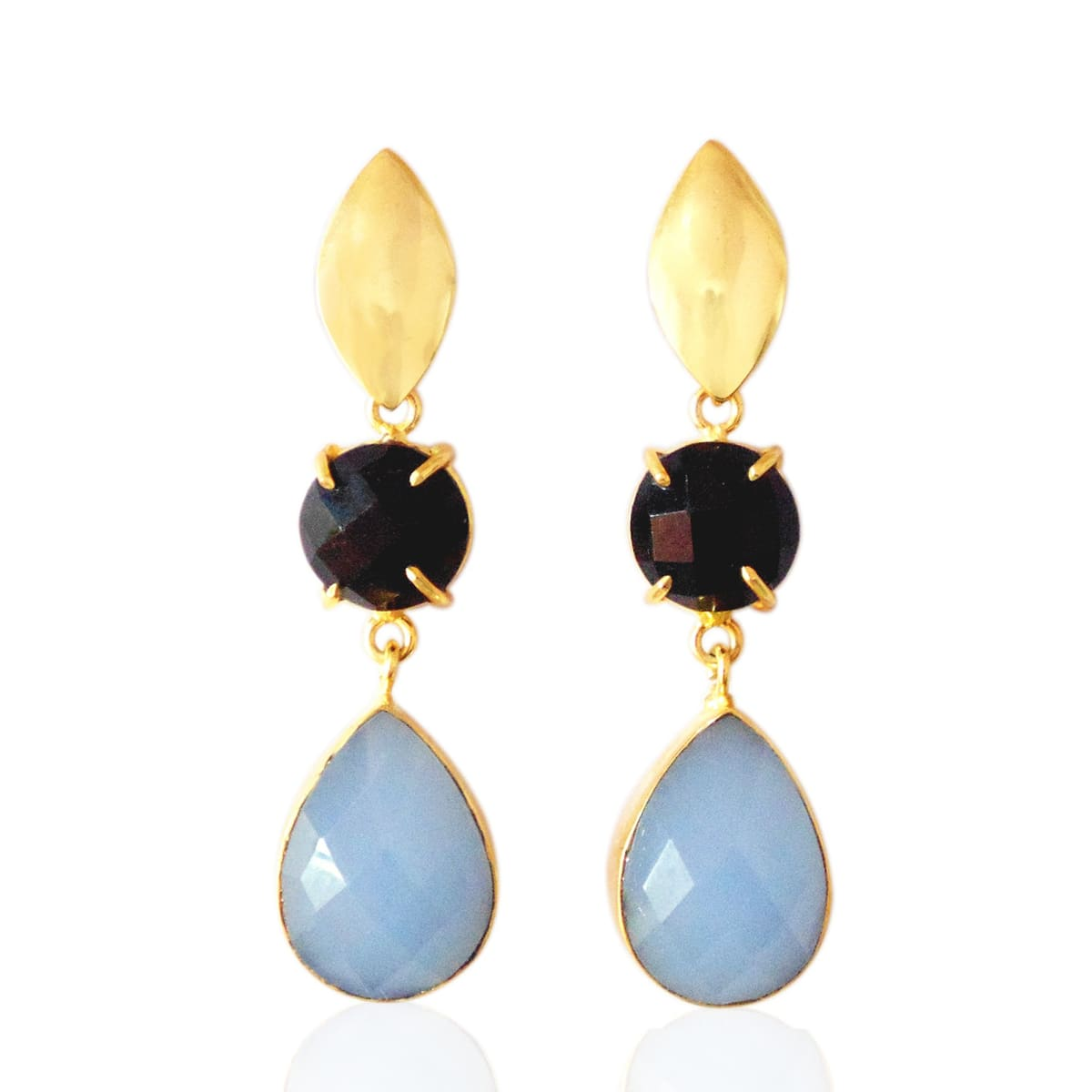 18K Gold Plated Black Onyx And Chalcedony Gemstone Prong Set Teardrop Earrings - by Bhagat Jewels