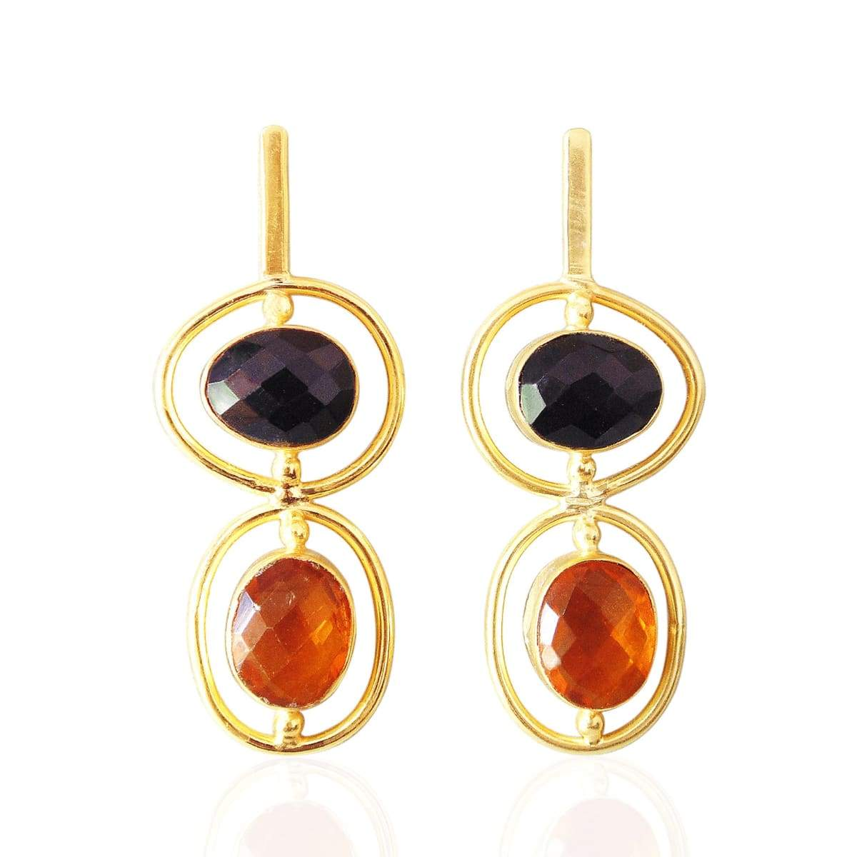 18K Gold Plated Black Onyx And Citrine Faceted Stone Stunning Dangle Earrings