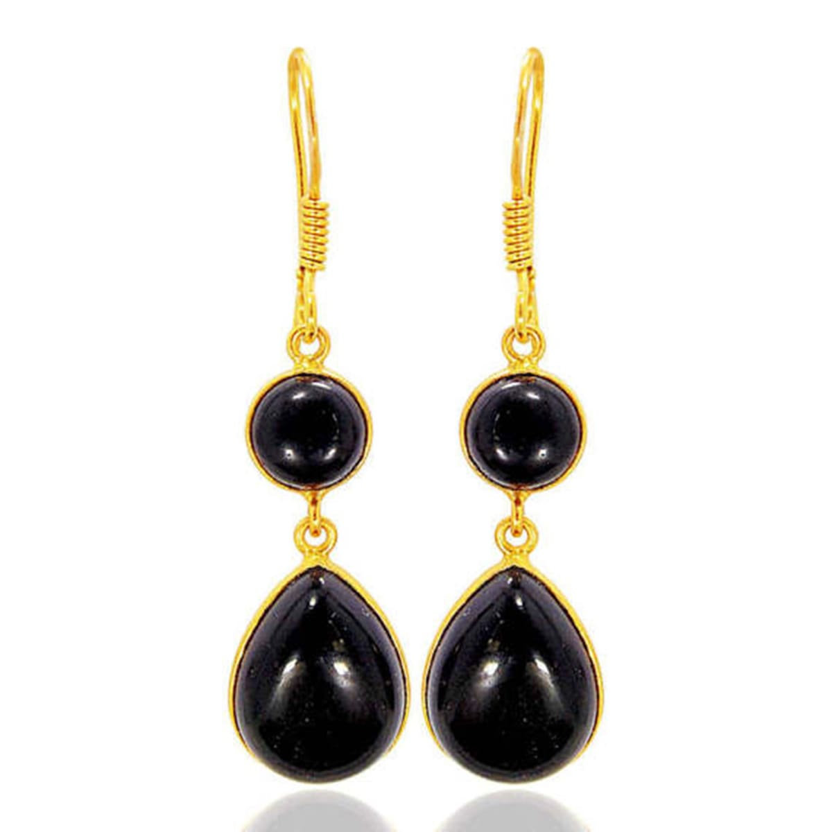 18K Gold Plated Black Onyx Gemstone Bezel Set Teardrop Earrings - by Bhagat Jewels