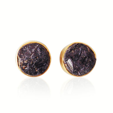 18K Gold Plated Black Tourmaline Bezel Set Small Studs Earrings - by Bhagat Jewels