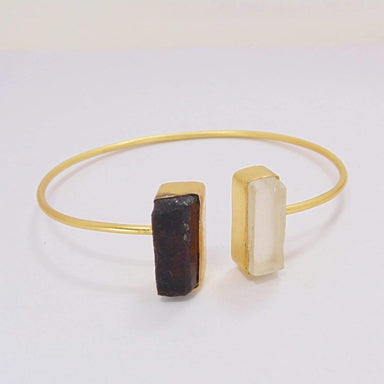 18K Gold Plated Black Tourmaline And Crystal Quartz Gemstone Adjustable Bangle