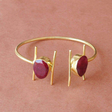 18K Gold Plated Dyed Ruby July Birthstone Pretty Bangle For Women