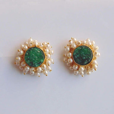 18K Gold Plated Green Druzy And Pearl Beads Post Dangle Earrings