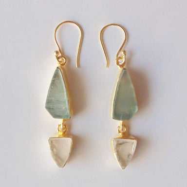 18K Gold Plated Green Fluorite And Crystal Quartz Gemstone Dangle Earrings