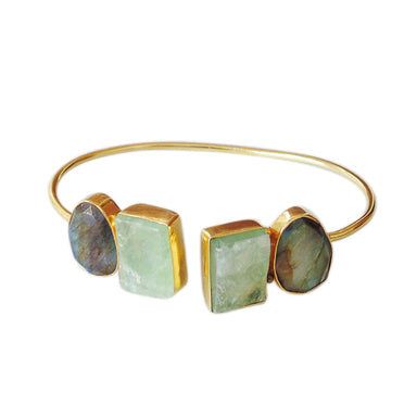 18K Gold Plated Green Fluorite And Labradorite Gemstone Fashion Bangle