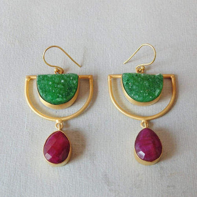 18K Gold Plated Half Moon Druzy And Ruby Corundum Gemstone Stylish Earrings