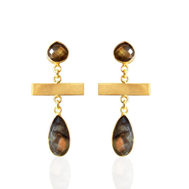 18K Gold Plated Labradorite Gemstone Bezel Set Teardrop Earrings - by Bhagat Jewels