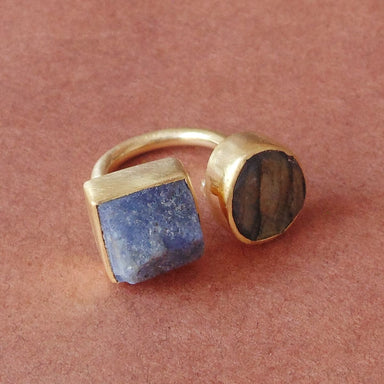 18K Gold Plated Labradorite And Tanzanite Stone Dainty Ring For Birthday Gift - by Bhagat Jewels