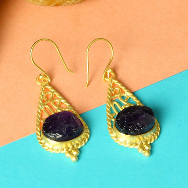18K Gold Plated Natural Amethyst Birthstone Twisted Wire Drop Earrings - by Bhagat Jewels