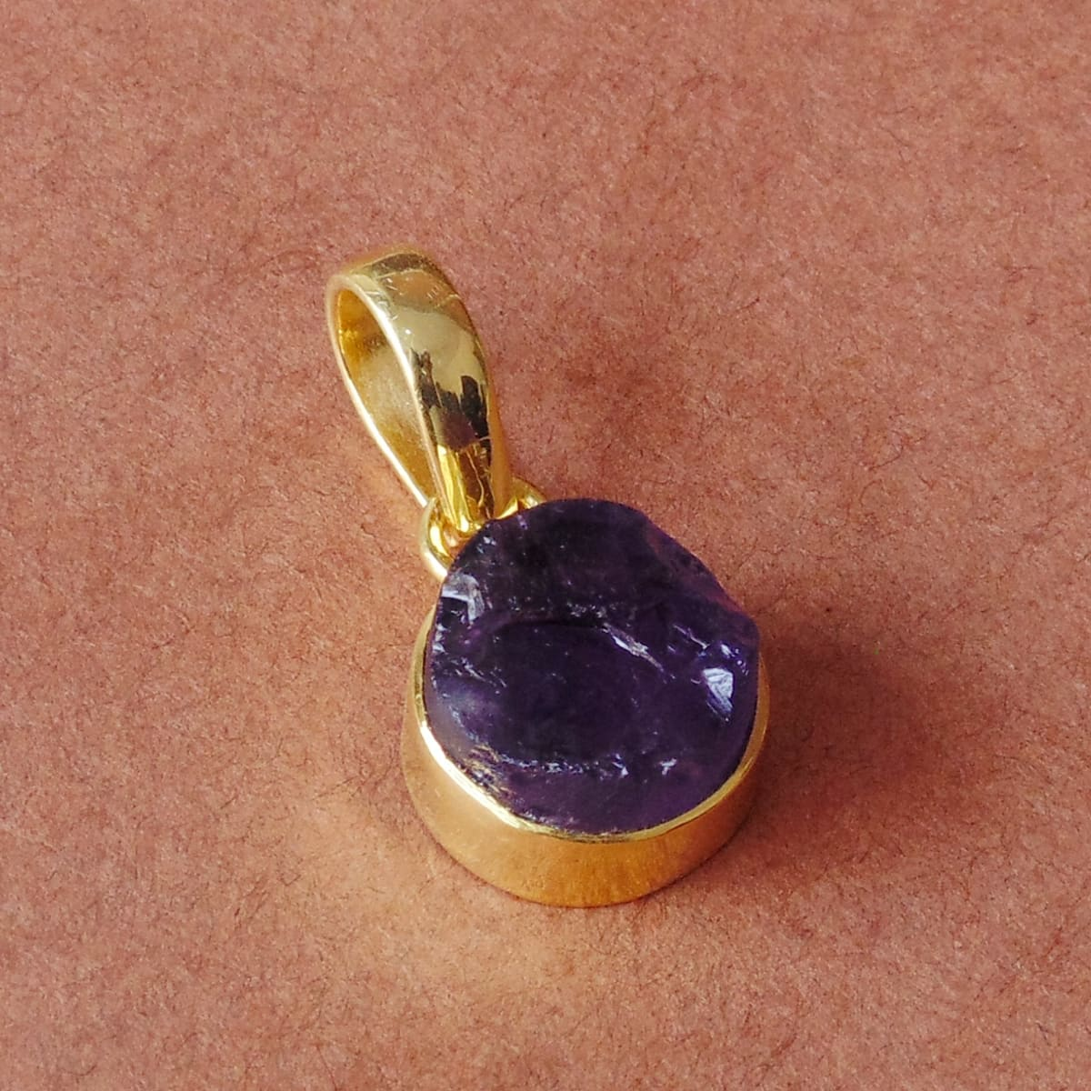 18K Gold Plated Natural Amethyst Gemstone Small Pendant - by Bhagat Jewels