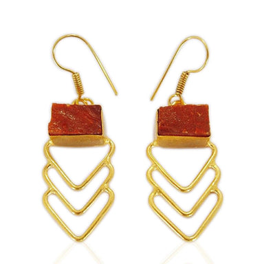 18K Gold Plated Natural Carnelian Gemstone Angle Wing Dangle Earrings