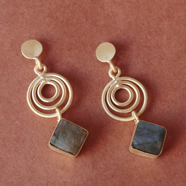 18K Gold Plated Natural Labradorite Gemstone Spiral Design Women Post Dangle Earrings - by Bhagat Jewels
