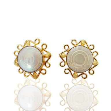 18K Gold Plated Natural Mother of Pearl Round Post Studs Earrings